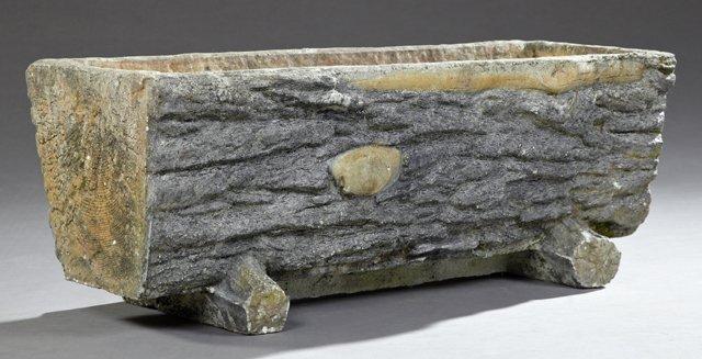 antique faux bois planter