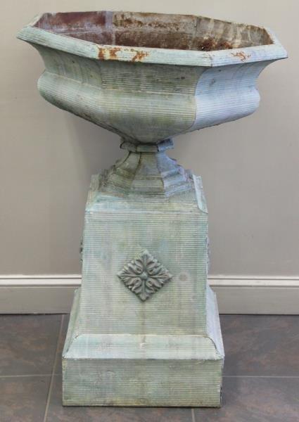 antique tin urn