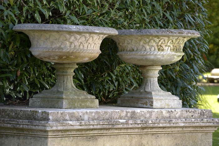 auction 6-16 2 haddonstone urns