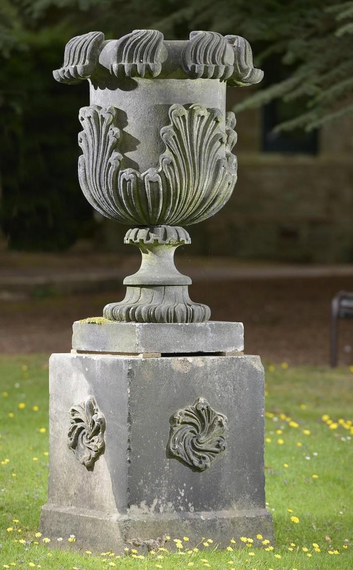 antique dark stone urn