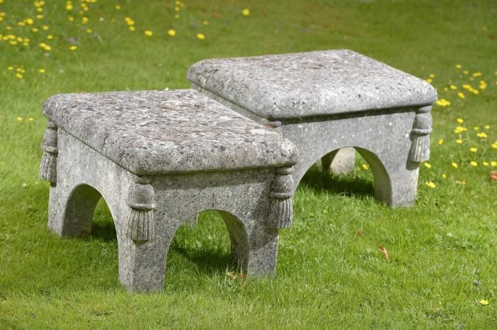 Antique stone footstools