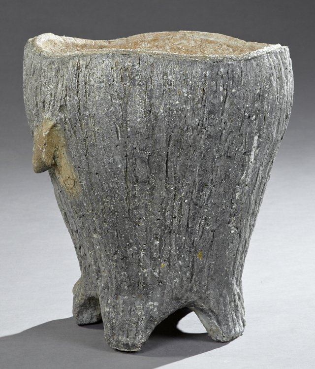 antique faux bois urn
