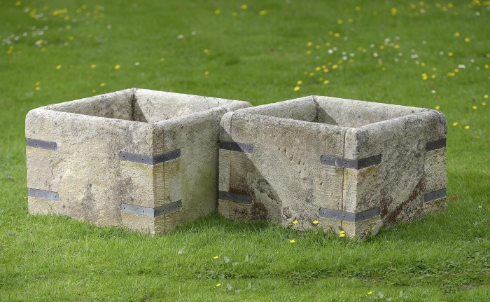 antique square planters